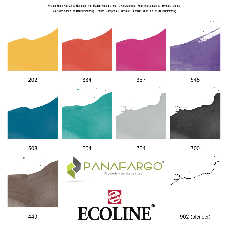 Ecoline brush pen 10 gama colores brillante
