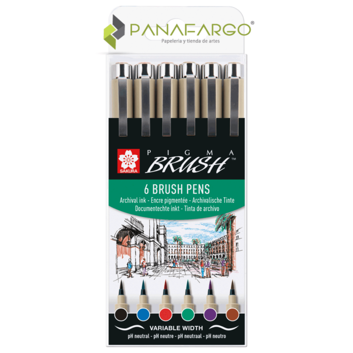 Estuche pigma brush pen x 6 punta pincel