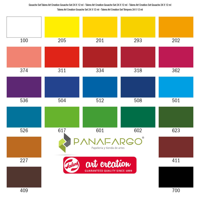 Tonalidades pintura tempera Gouache x 24 colores