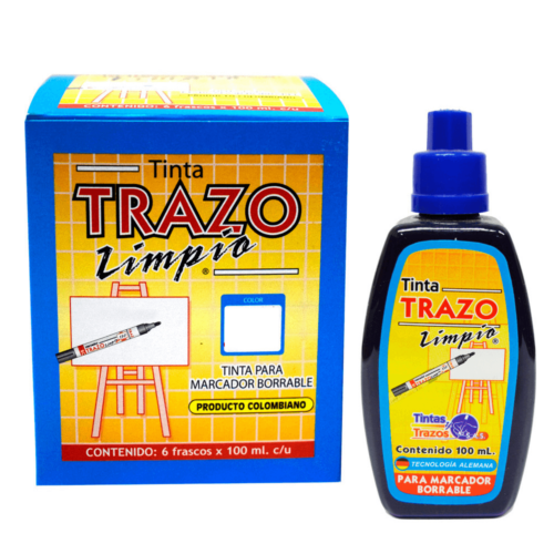 Tinta trazo limpio para marcador borrable x 100 Azul + Panafargo