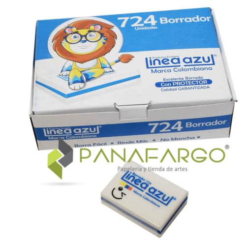 Borrador Linea Azul Pequeño Nata 724 Caja por 24 + Panafargo