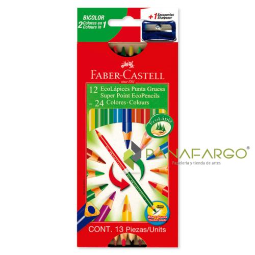 Caja de Colores Faber Castell Bicolor Triangular Largo 4 mm 12x24 + Panafargo