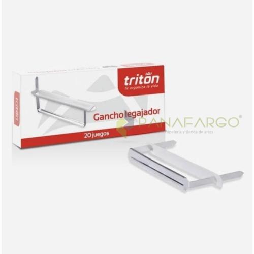Gancho legajador metálico marca Triton para legajar archivo entre 7 u 8 cm, paquete por 20 unidades. Super Económico. + Panafargo