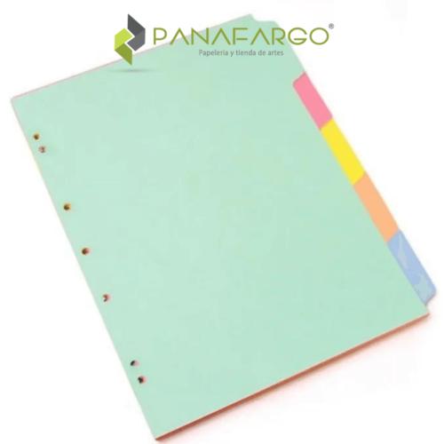 Separador para folder cartulina 105 en Cartulina en Colores Surtidos X 5 + Panafargo