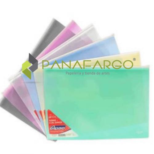 Carpeta Cierre o Zipper Carta y Oficio Gipao sobre original en colores + Panafargo