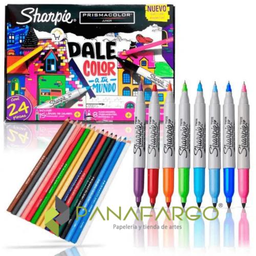 Estuche de Marcadores Sharpie Y Colores Prismacolor Dale Color A Tu Mundo + Panafargo
