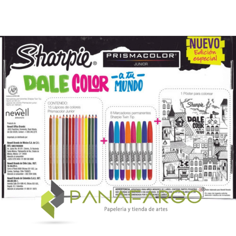 Estuche de Marcadores Sharpie Y Colores Prismacolor Dale Color A Tu Mundo caja atras + Panafargo