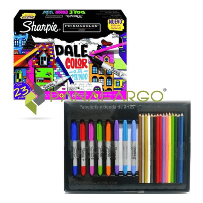 Estuche de Marcadores Sharpie Y Colores Prismacolor Dale Color A Tu Mundo en caja + Panafargo