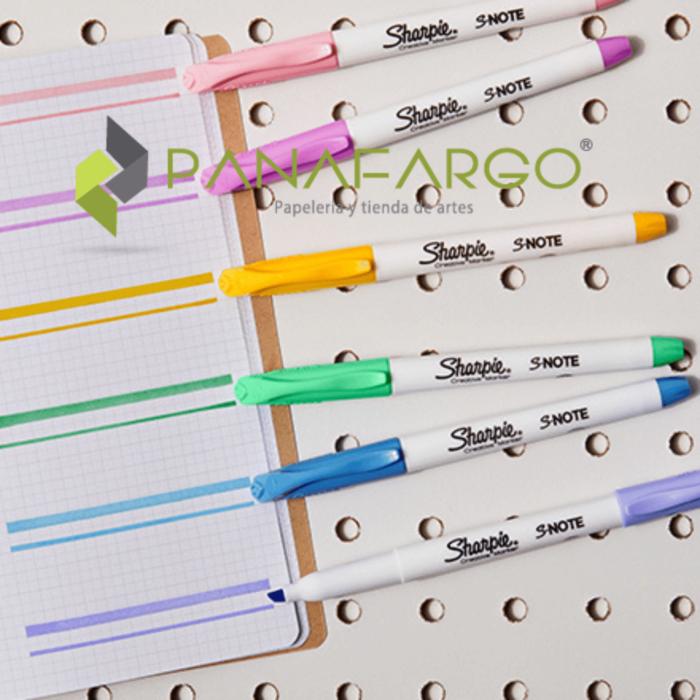 Marcador y Resaltador Pastel Sharpie X 4 Snote Abierto + Panafargo