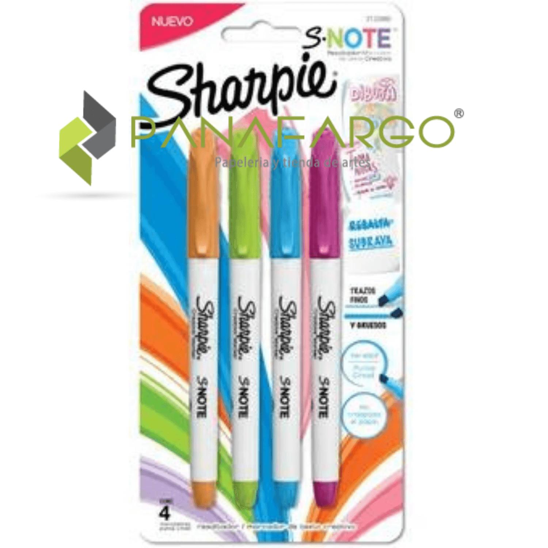 Marcador y Resaltador Pastel Sharpie X 4 Snote intensos + Panafargo