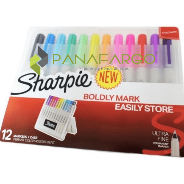 Micropunta Sharpie Permanente x 12 Colores Mas Estuche + Panafargo