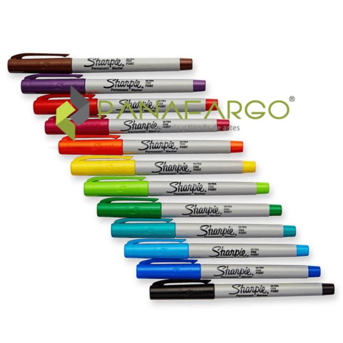 Micropunta Sharpie Permanente x 12 Colores Mas Estuche en fila + Panafargo