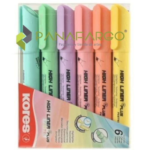 Resaltador Kores Pastel Grueso X 6 Colores Estuche + Panafargo