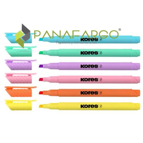 Resaltador Pastel Kores Delgado X 6 Colores Abierto + Panafargo