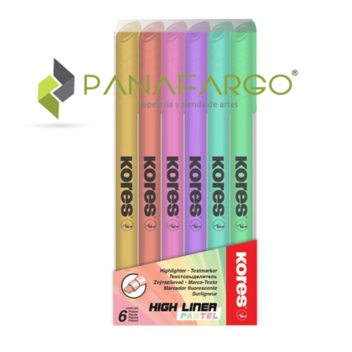 Resaltador Pastel Kores Delgado X 6 Colores Estuche + Panafargo