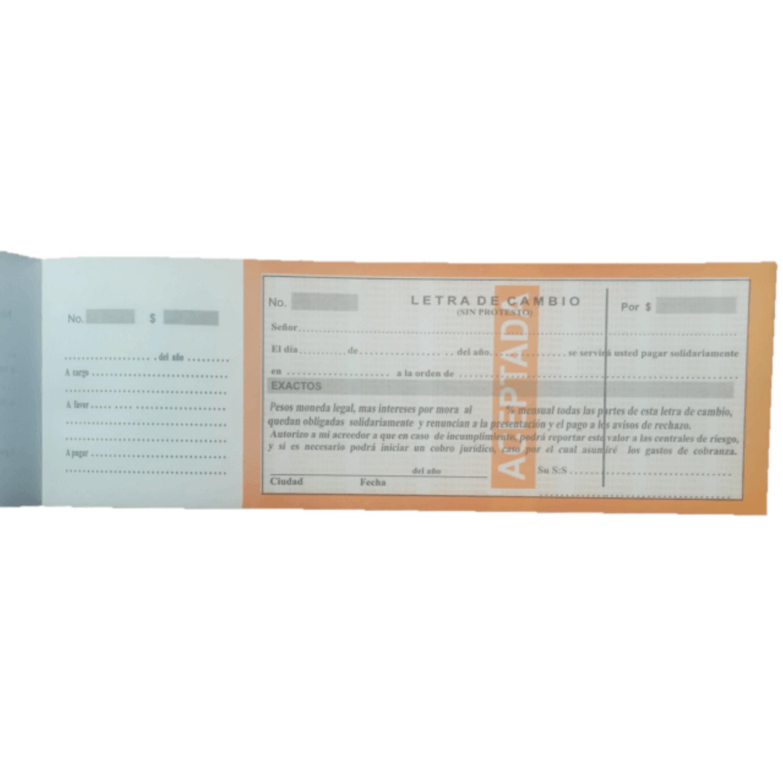 Letra De Cambio En Talonario Papel Bond De 70 Hojas + Panafargo